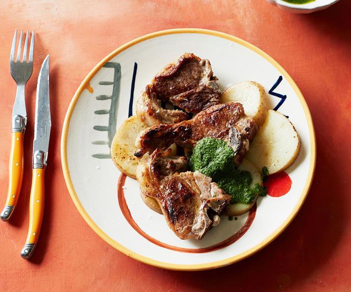 Lamb chops with salsa alla menta and potatoes