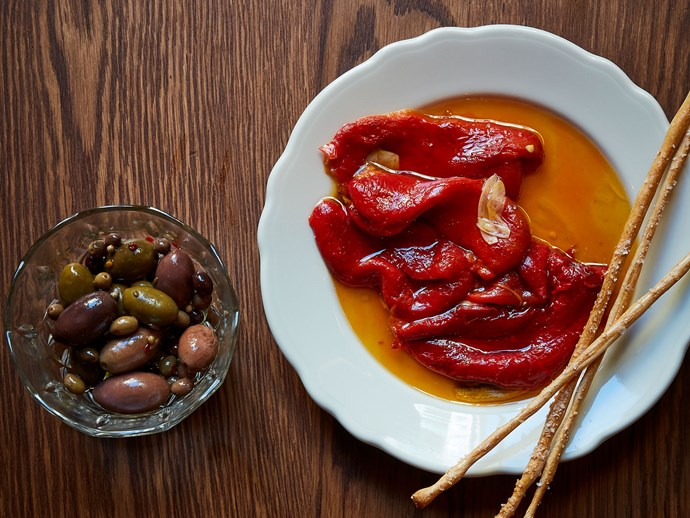 """**[Peppers aqua pazza](https://www.gourmettraveller.com.au/recipes/chefs-recipes/peppers-aqua-pazza-17266