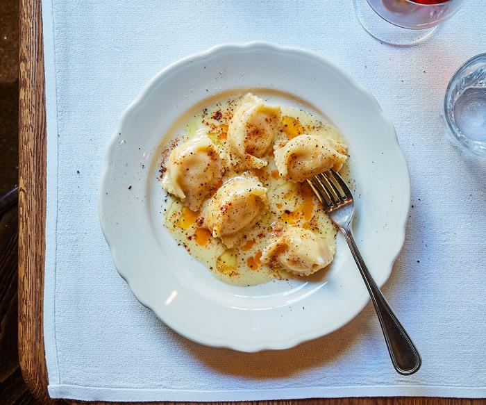 Ricotta agnolotti with anchovy butter