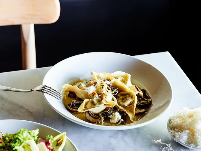 "**[Agostino's mushroom tortelloni with buffalo ricotta](https://www.gourmettraveller.com.au/recipes/chefs-recipes/mushroom-tortelloni-17281|target=""_blank"")**"
