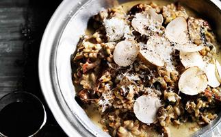 Farro risotto with mushrooms, leek and parmesan