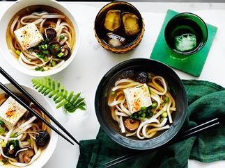 Udon noodle soup with shiitake mushrooms and tofu