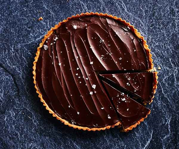 Salted caramel and chocolate ganache tart