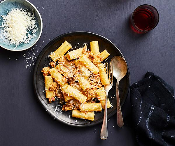 "**[Rigatoni with rabbit ragù by Don Peppino's](https://www.gourmettraveller.com.au/recipes/chefs-recipes/rabbit-ragu-17375|target=""_blank"")**"