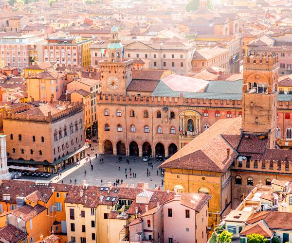 An aerial view of Bologna.