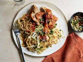 Roast duck with egg noodles