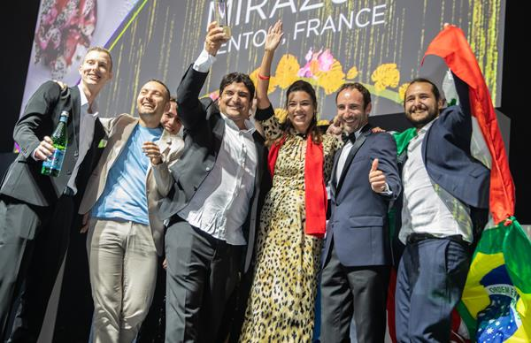 Mauro Colagreco and the Mirazur team at The World's Best 50 Restaurants awards ceremony.