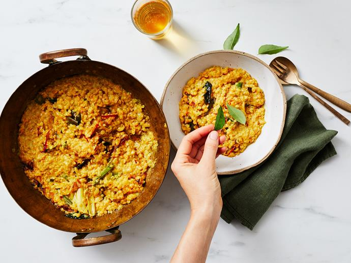 "**[Tempered dhal](https://www.gourmettraveller.com.au/recipes/explainers/tempered-dhal-17442|target=""_blank"")**"