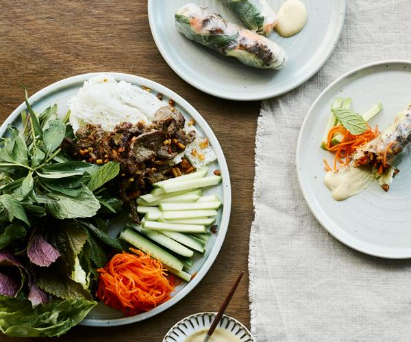 """**[Beef rice-paper rolls](https://www.gourmettraveller.com.au/recipes/chefs-recipes/rice-paper-rolls-beef-17443