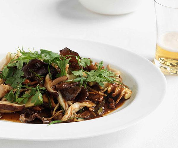 "**[Stir-fried chicken and Chinese mushrooms](https://www.gourmettraveller.com.au/recipes/fast-recipes/stir-fried-chicken-and-chinese-mushrooms-13121|target=""_blank"")**"