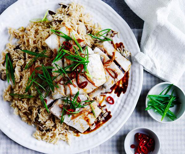 "**[Steamed barramundi with shiitake rice](http://www.gourmettraveller.com.au/recipes/fast-recipes/steamed-barramundi-with-shiitake-rice-13603|target=""_blank"")**"