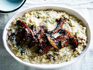 Leek, mushroom and thyme risotto
