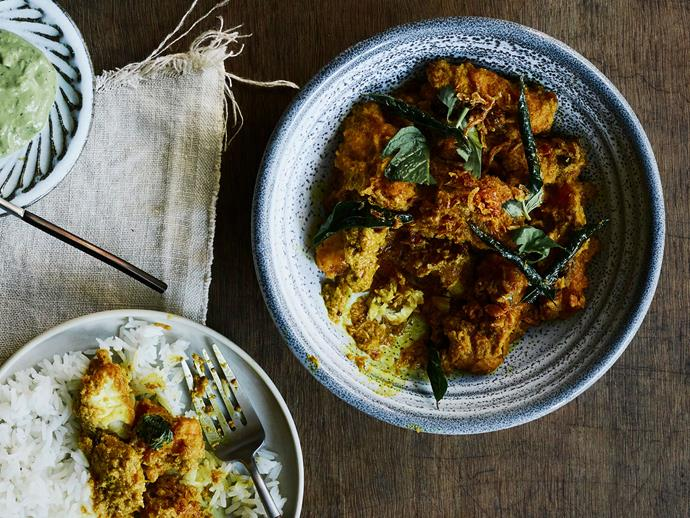 "**[Sunda's fish curry with cucumber salad and coriander chutney](https://www.gourmettraveller.com.au/recipes/chefs-recipes/fish-curry-17478|target=""_blank"")**"