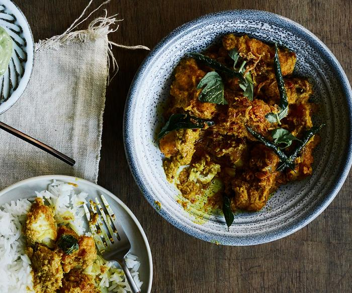 Fish curry with cucumber salad and coriander chutney