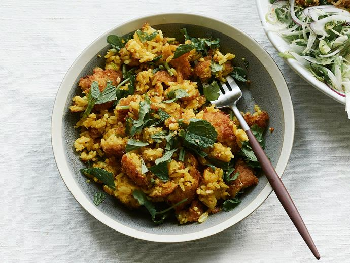 """**[Crisp rice salad](https://www.gourmettraveller.com.au/recipes/chefs-recipes/nam-khao-recipe-17482