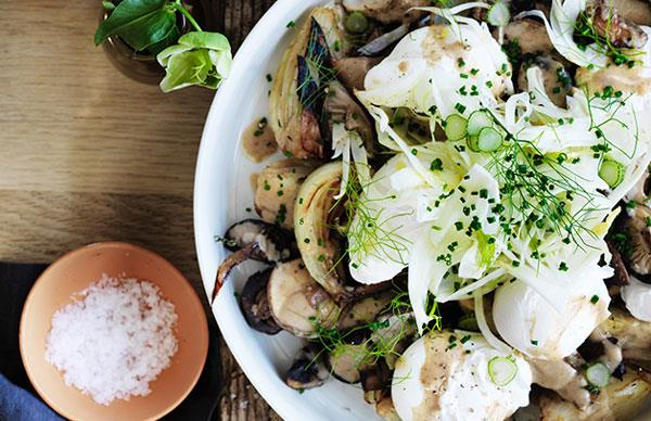 Grant Achatz's roast mushrooms with caramelised fennel, onions, eggs and dates