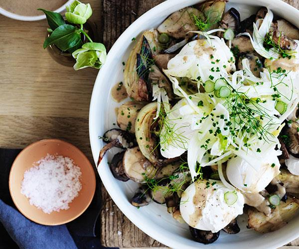 Grant Achatz's roast mushrooms with caramelised fennel, onions, eggs and dates