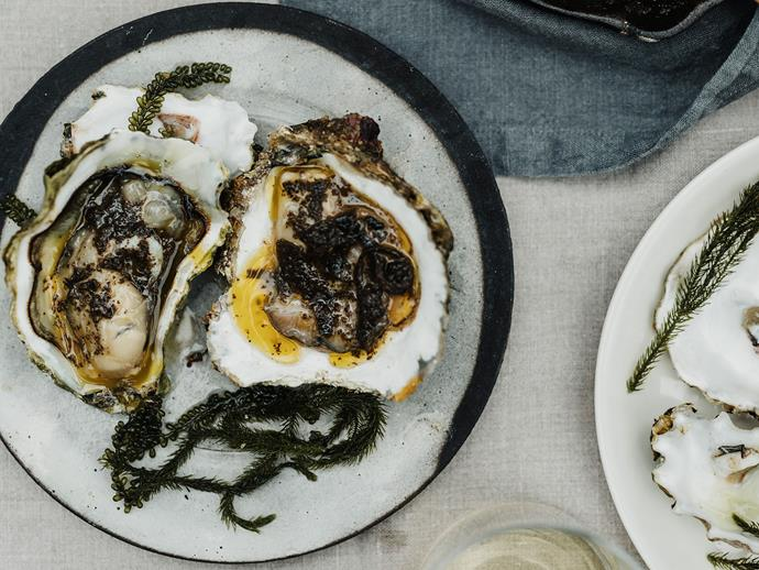 "**[Analiese Gregory's grilled oysters with seaweed butter](https://www.gourmettraveller.com.au/recipes/chefs-recipes/oysters-seaweed-butter-17485|target=""_blank"")**"