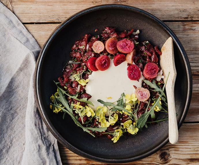 "**[Analiese Gregory's wallaby tartare with anchovy dressing](https://www.gourmettraveller.com.au/recipes/chefs-recipes/wallaby-tartare-17488|target=""_blank"")**"