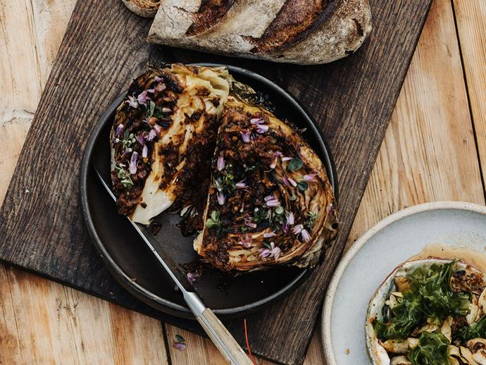"""**[Analiese Gregory's charred cabbage with XO sauce](https://www.gourmettraveller.com.au/recipes/chefs-recipes/charred-cabbage-xo-sauce-17491