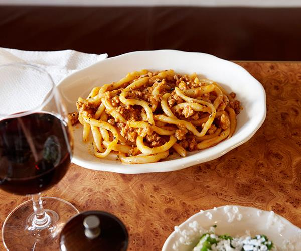 "**[10 William St's Pici Bolognese](https://www.gourmettraveller.com.au/recipes/chefs-recipes/pici-bolognese-7835|target=""_blank"")**"