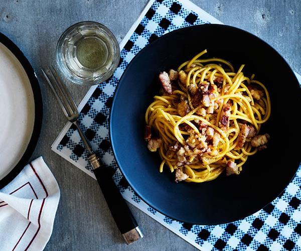 "**[Mitch Orr's smoked eel ""carbonara""](https://www.gourmettraveller.com.au/recipes/chefs-recipes/smoked-eel-carbonara-8028|target=""_blank"")**"