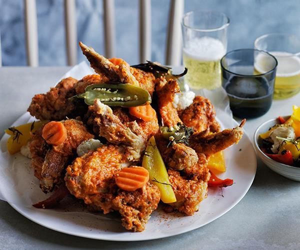 "**[Dan Pepperell's fried chicken alla diavola](https://www.gourmettraveller.com.au/recipes/chefs-recipes/fried-chicken-alla-diavola-8323|target=""_blank"")**"