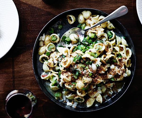 "**[Tipo 00's orecchiette with broccolini, anchovy, garlic, chilli and Asiago](http://www.gourmettraveller.com.au/recipes/chefs-recipes/orecchiette-with-broccolini-anchovy-garlic-chilli-and-asiago-8418|target=""_blank"")**"