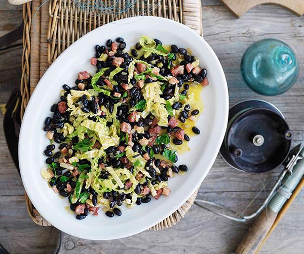 "**[Basque-style lack beans and cabbage](https://www.gourmettraveller.com.au/recipes/browse-all/black-beans-and-cabbage-10380|target=""_blank"")**"