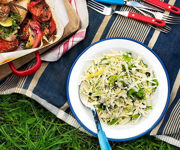 "**[Cabbage and fennel slaw](https://www.gourmettraveller.com.au/recipes/browse-all/cabbage-and-fennel-slaw-10658|target=""_blank"")**"