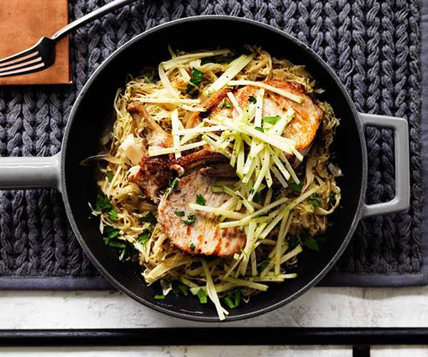 """**[Pork with cabbage, apple and mustard](https://www.gourmettraveller.com.au/recipes/fast-recipes/pork-with-cabbage-apple-and-mustard-13710