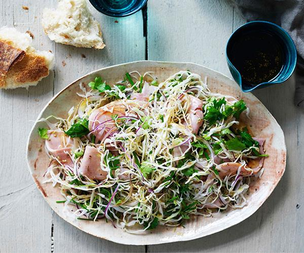 Shaved cabbage, fennel and ham salad
