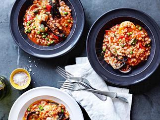Orzo alla marinara (seafood and barley stew)