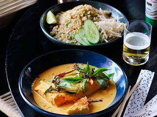 Turmeric and coconut salmon curry