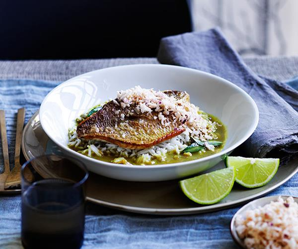 """**[Flying Fish's fish curry with coconut sambal](https://www.gourmettraveller.com.au/recipes/chefs-recipes/fish-curry-with-coconut-sambal-9132