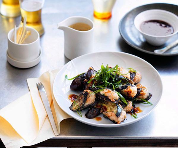 Hakka-style eggplant with prawn filling