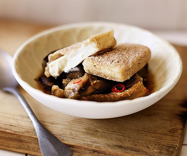 Salt-and-pepper tofu with braised eggplant