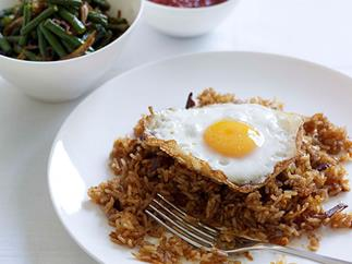 Indonesian fried rice with snake bean relish