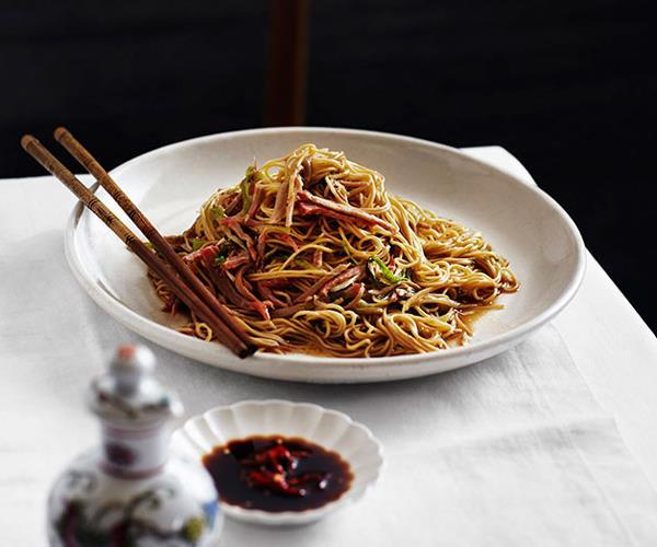 "**[Flower Drum's char siu pork with egg noodles (keong chung cha siu lo mein)](https://www.gourmettraveller.com.au/recipes/chefs-recipes/char-siu-pork-with-egg-noodles-keong-chung-cha-siu-lo-mein-8102|target=""_blank"")**"