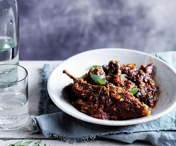 "**[Dry curry of lamb and eggplant](https://www.gourmettraveller.com.au/recipes/browse-all/dry-curry-of-lamb-and-eggplant-12020|target=""_blank"")**"