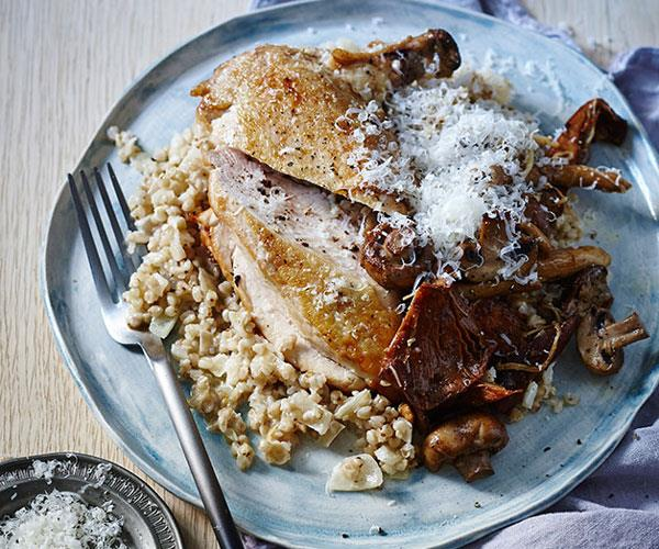 """**[Chicken with buckwheat and mushroom risotto](https://www.gourmettraveller.com.au/recipes/fast-recipes/chicken-with-buckwheat-and-mushroom-risotto-13592
