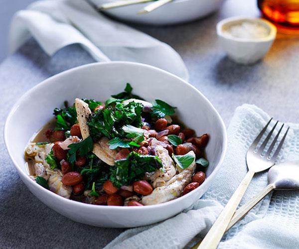 Braised chicken with pancetta, borlotti beans and kale