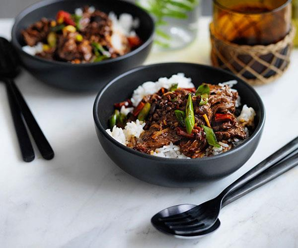 Sichuan-style boiled beef with rice