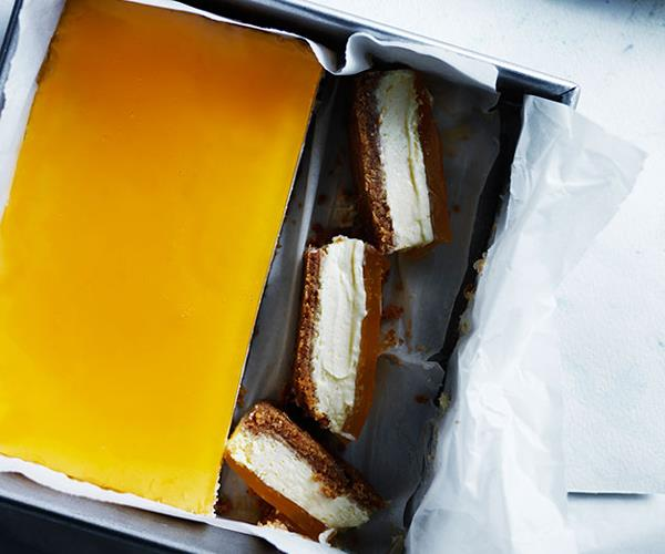 Lemon cheesecake slice with citrus jelly