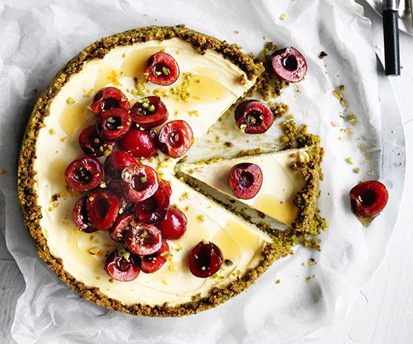 "**[Labne and pistachio cheesecake](https://www.gourmettraveller.com.au/recipes/browse-all/labne-and-pistachio-cheesecake-12717|target=""_blank"")**"