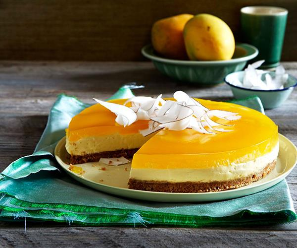 "**[Mascarpone and coconut cake with mango jelly](https://www.gourmettraveller.com.au/recipes/browse-all/mascarpone-and-coconut-cake-with-mango-jelly-9899|target=""_blank"")**"