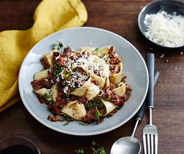"""**[Massi's pappardelle with osso buco ragù](https://www.gourmettraveller.com.au/recipes/chefs-recipes/osso-buco-recipe-9306