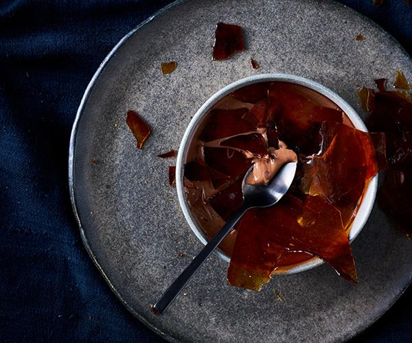 """**[Chocolate crémeux with caramel](https://www.gourmettraveller.com.au/recipes/browse-all/chocolate-cremeux-with-caramel-12752