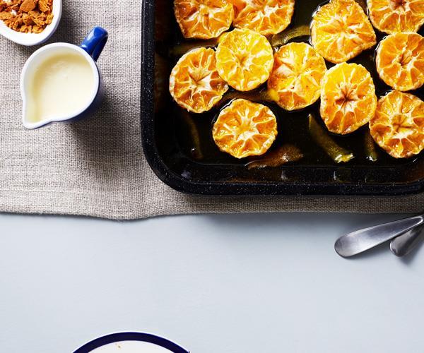 "**[Roasted mandarins with ginger custard](https://www.gourmettraveller.com.au/recipes/fast-recipes/roasted-mandarins-with-ginger-custard-16344|target=""_blank"")**"