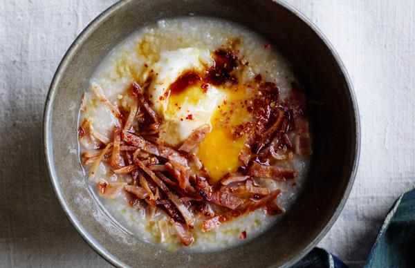 Egg and bacon congee